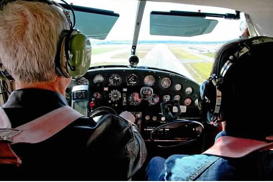 Master certified flight instructor, John Mahany flight training with student in cockpit