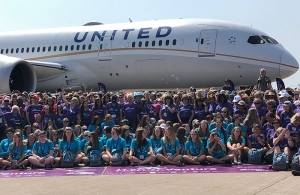 WomenVenture Group in front of a United Airlines Boeing 787