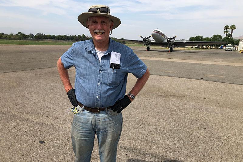 John Mahany with DC3 airplane